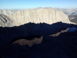Mt. Hitchock and reflection in it's lakes with Whitney's shadow