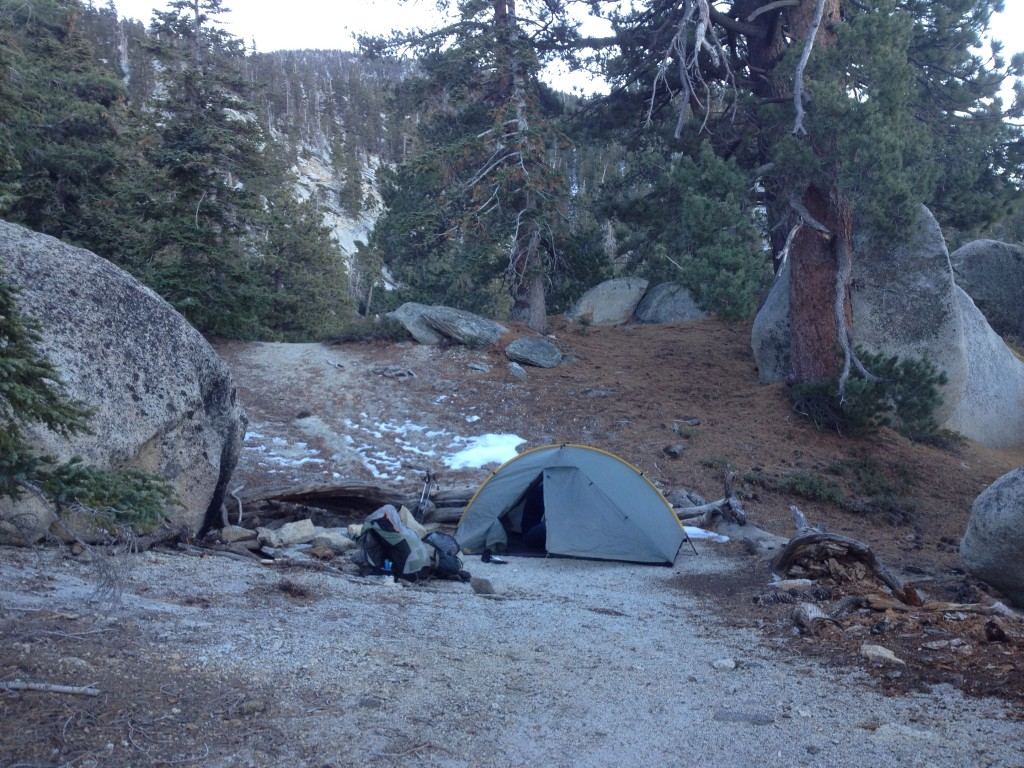 Second night's campsite near mile 187