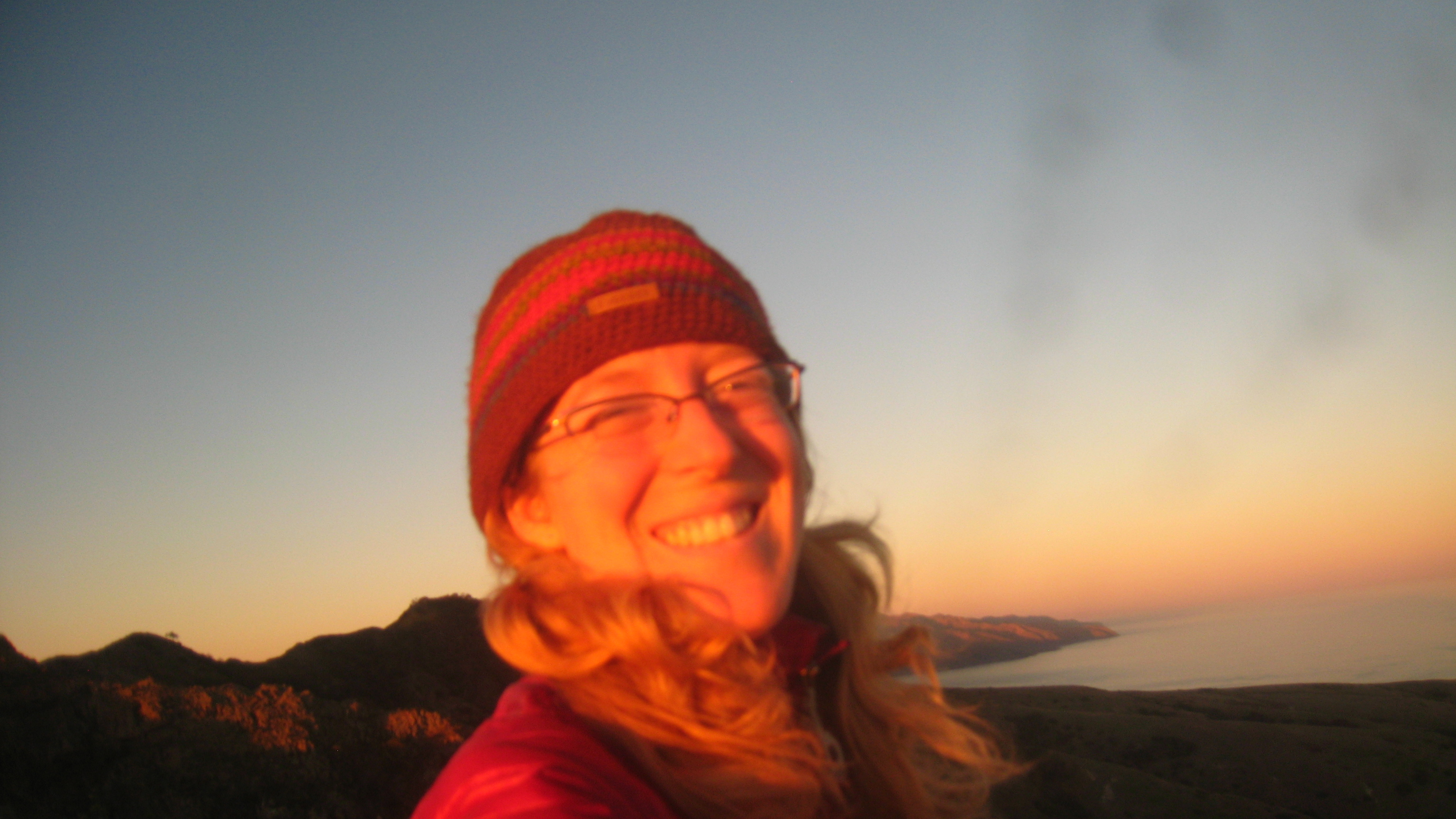 A windy sunrise on the mountain top