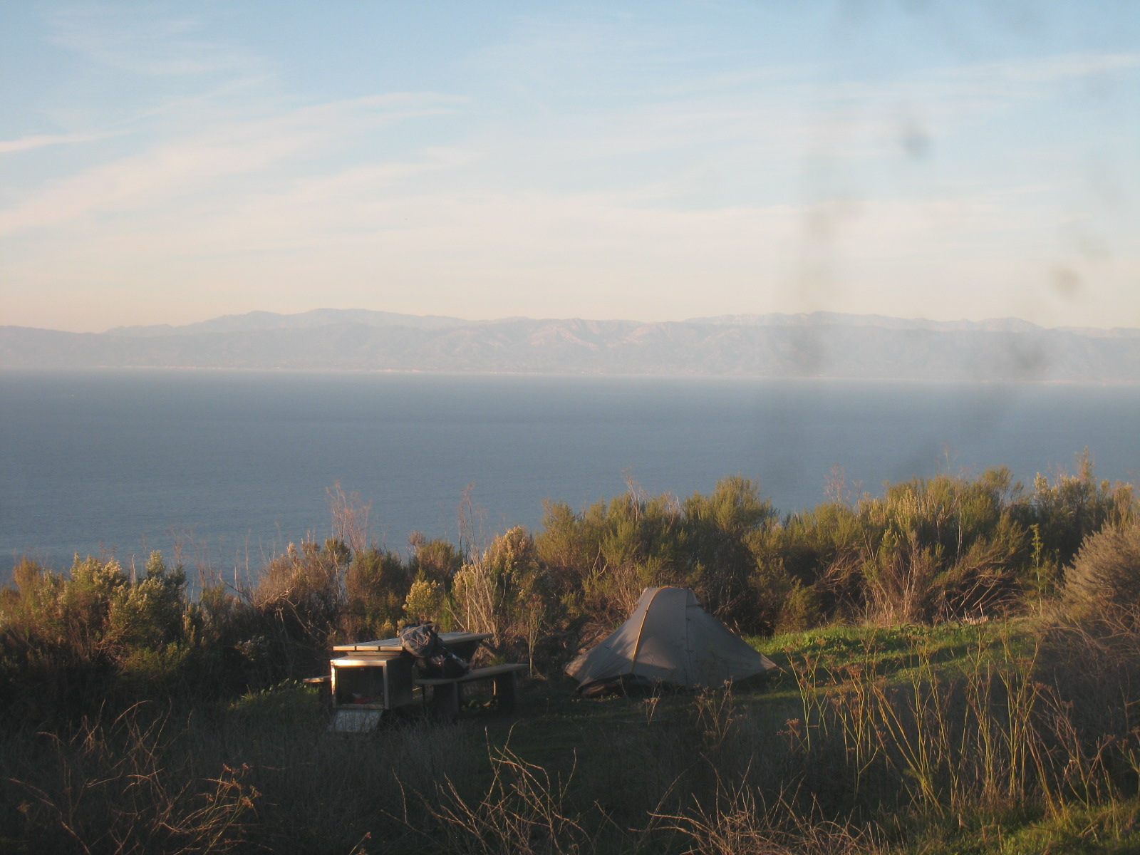 A view of the mainland from Del Norte Campground, Santa Cruz Island
