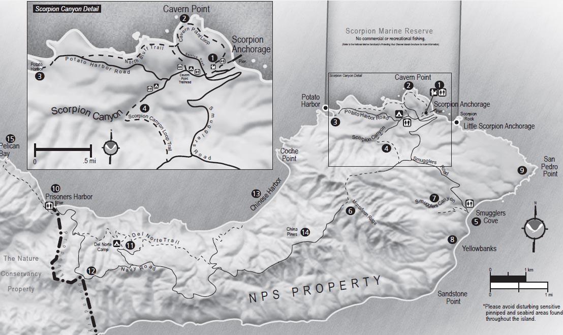 NPS map of Eastern Santa Cruz Island