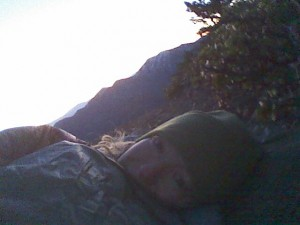 Waiting for sunbeams, summit of Mt. Baden-Powell