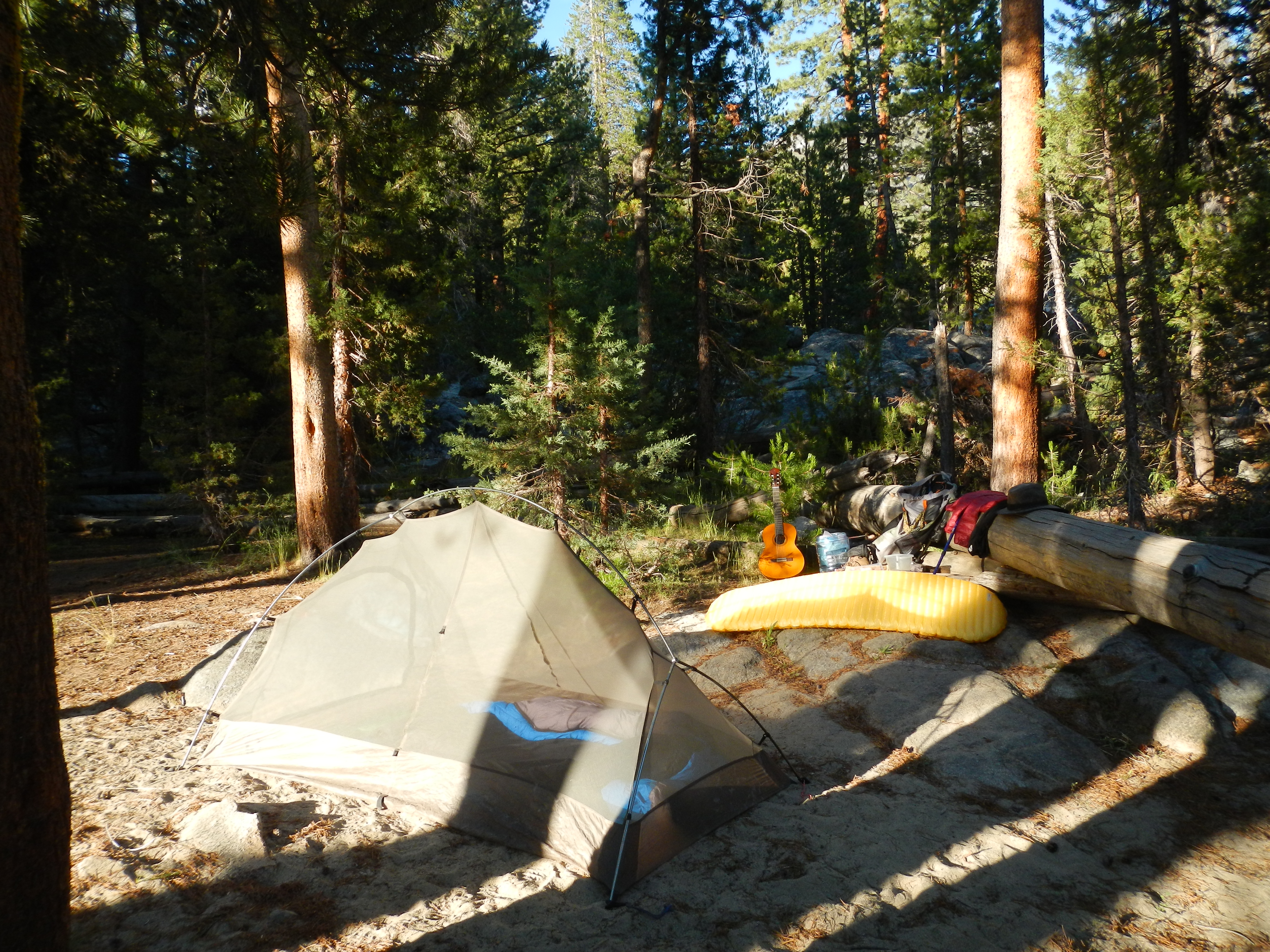 Camp next to the San Joaquin River