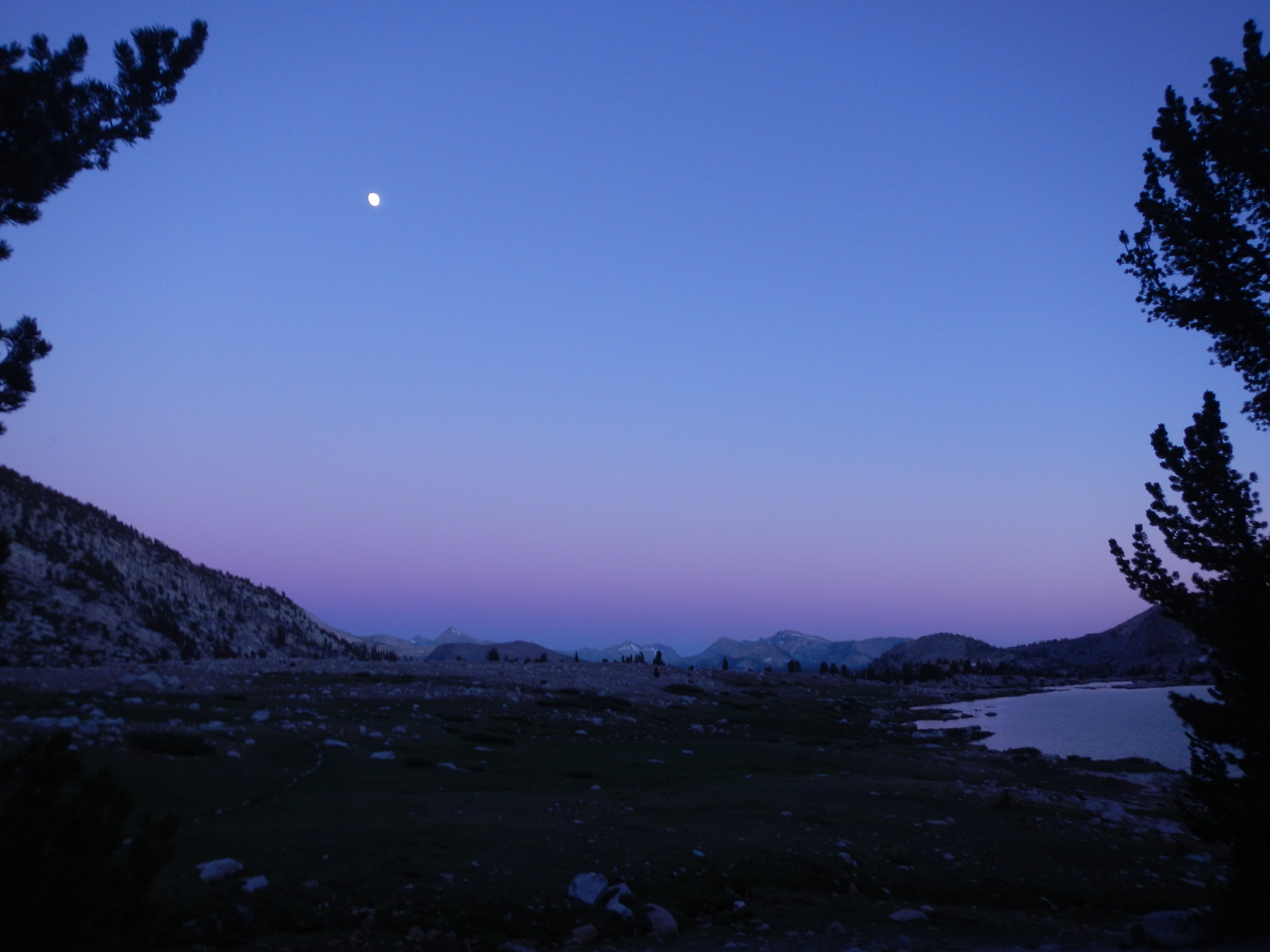 Moon above Silver Pass Lake