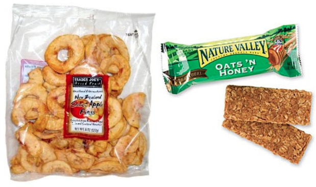 Dried apples & granola bars