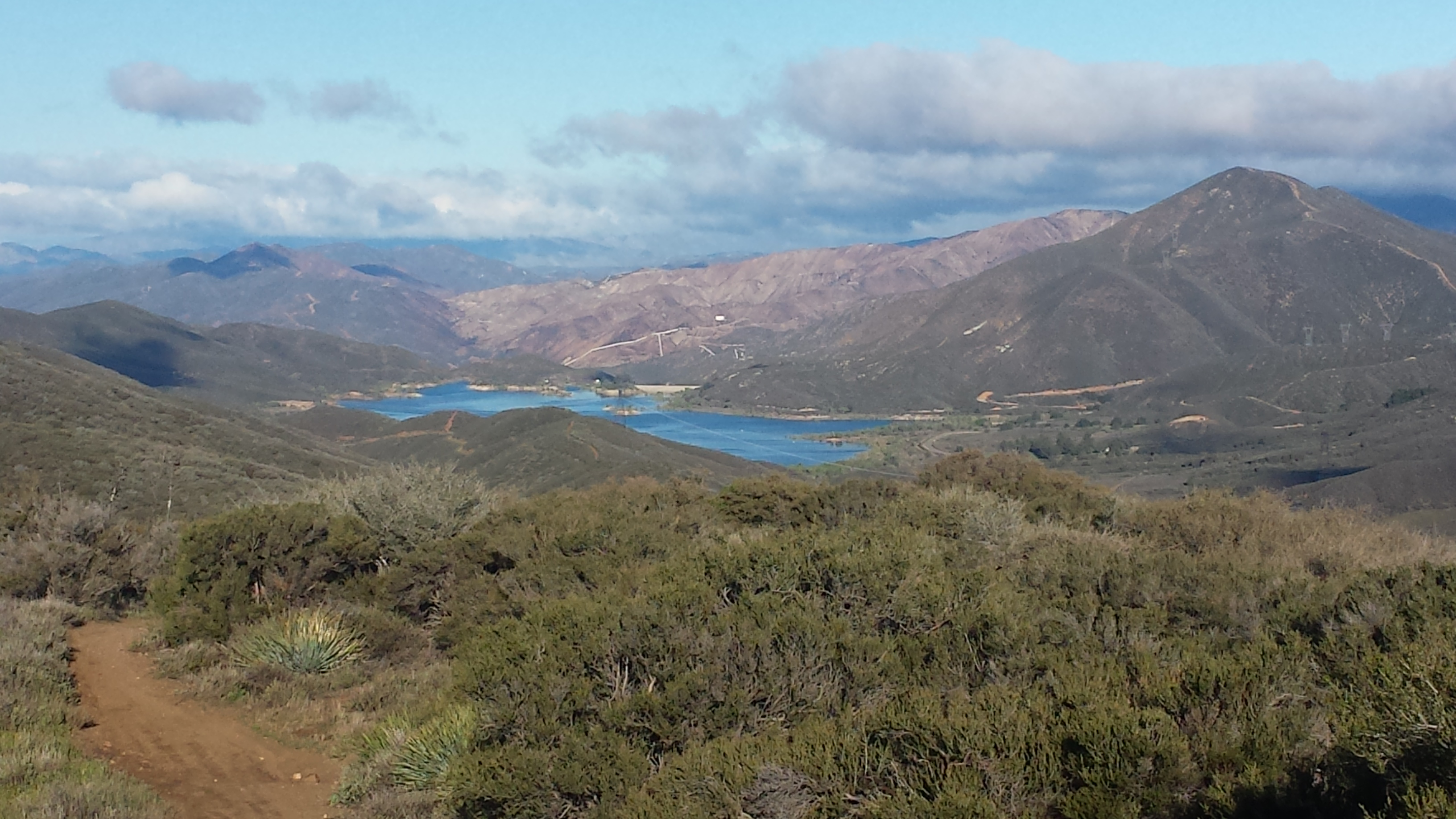 Looking toward Bouquet Canyon Reservoir and the burned/closed area