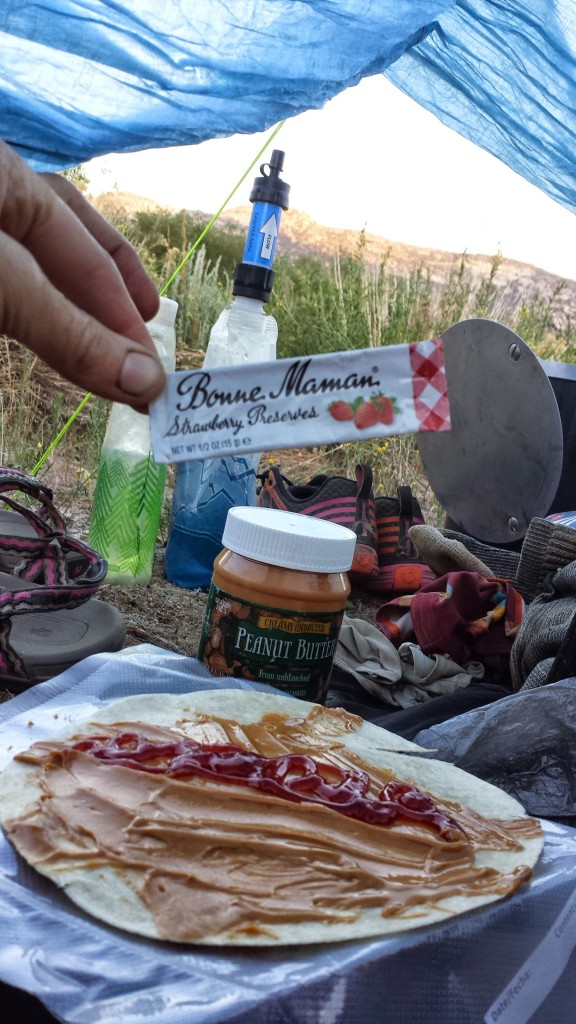 PB & J Tortillas- also makes a great breakfast!  I carried a jar of peanut butter, but you can find single serving packets made by Justin's.  Bonne Maman makes the best single serving strawberry preserves.  You can find them on both Minimus Biz or Amazon.