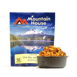 Mountain House Chili Mac with Beef. $3.75-$4 per serving.