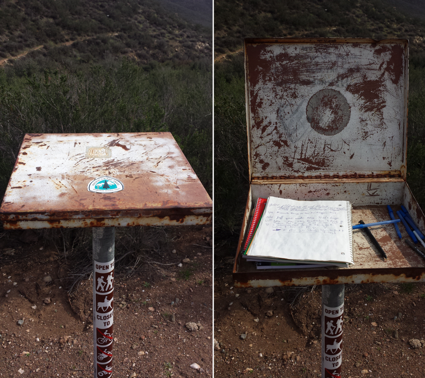 Trail Registry in Mint Canyon near mile 458.5