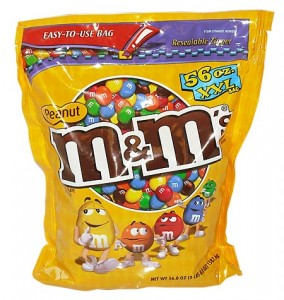 Peanut M&M's dont' have any partially hydrogenated oils. :)
