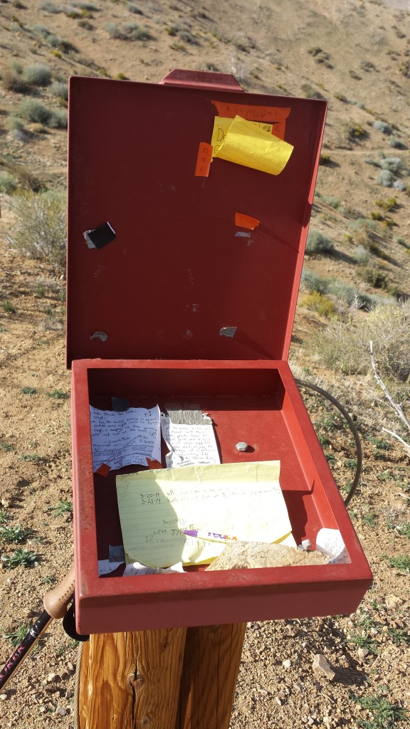 A trail registry in the middle of nowhere