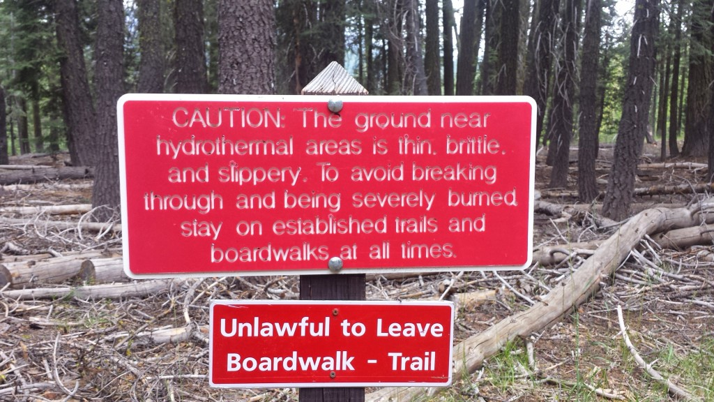 PCT Section N Lassen National Forest Boiling Mud Lake Caution Sign