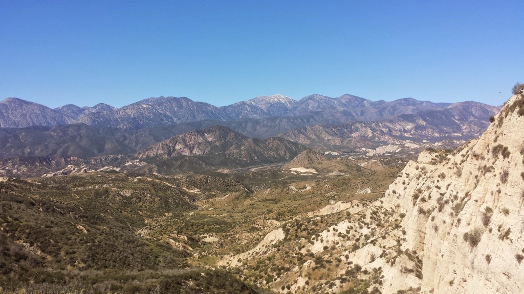 View towards the San Gabriel Mountains, Highway 15, and the San Andreas Fault