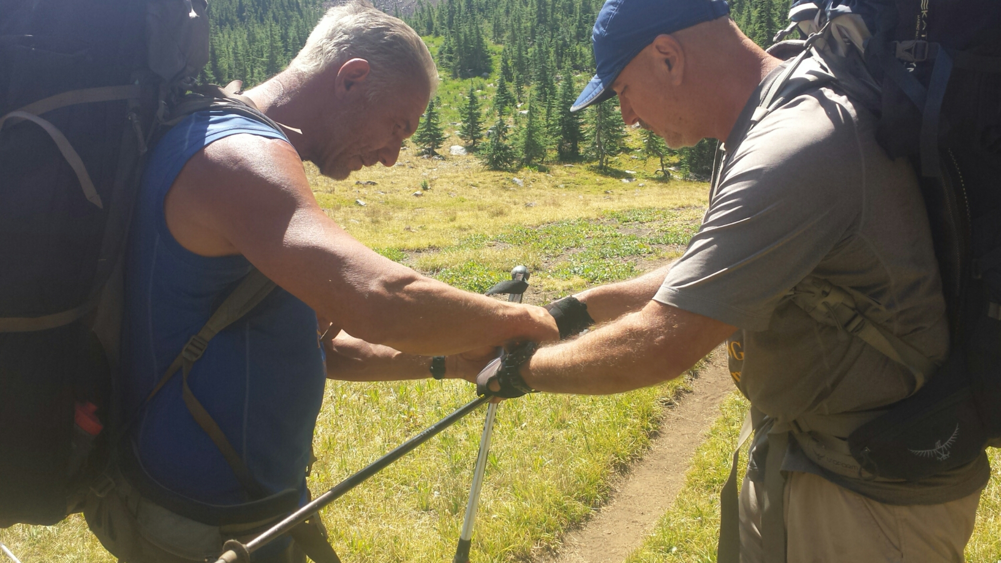 A couple firemen fixing my trekking pole