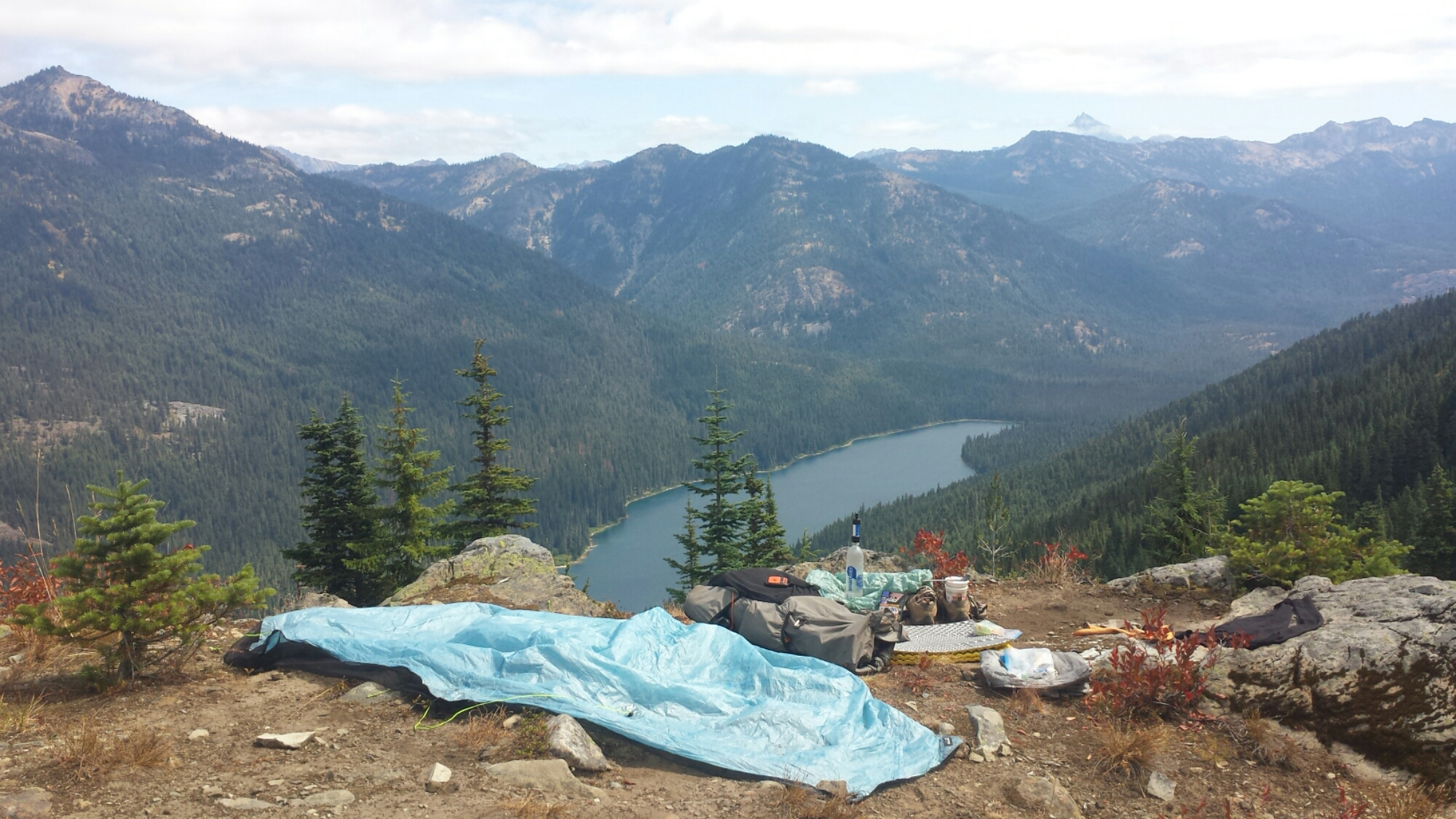 Drying out my gear above Waptus Lake