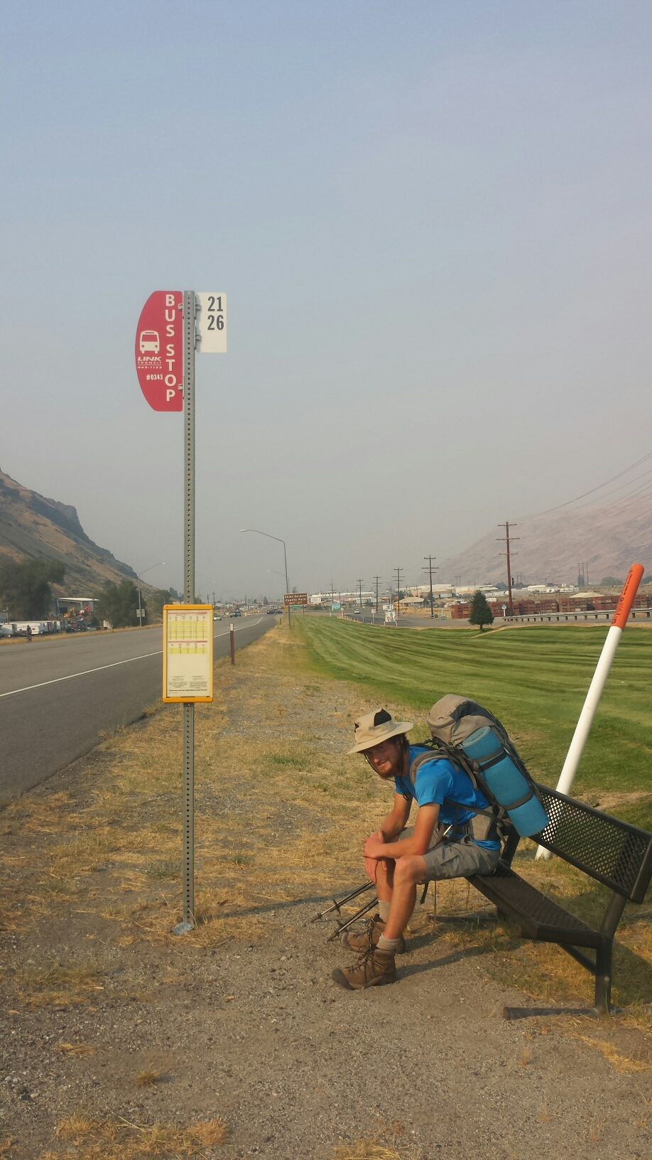 Waiting for the bus to Chelan