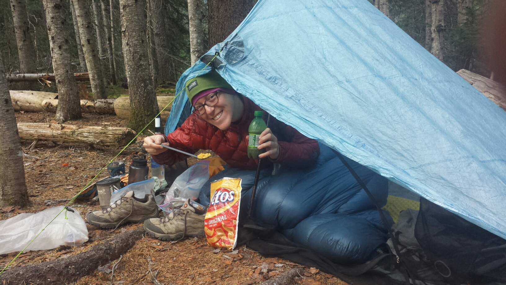 Last breakfast on trail: Fritos & coffee