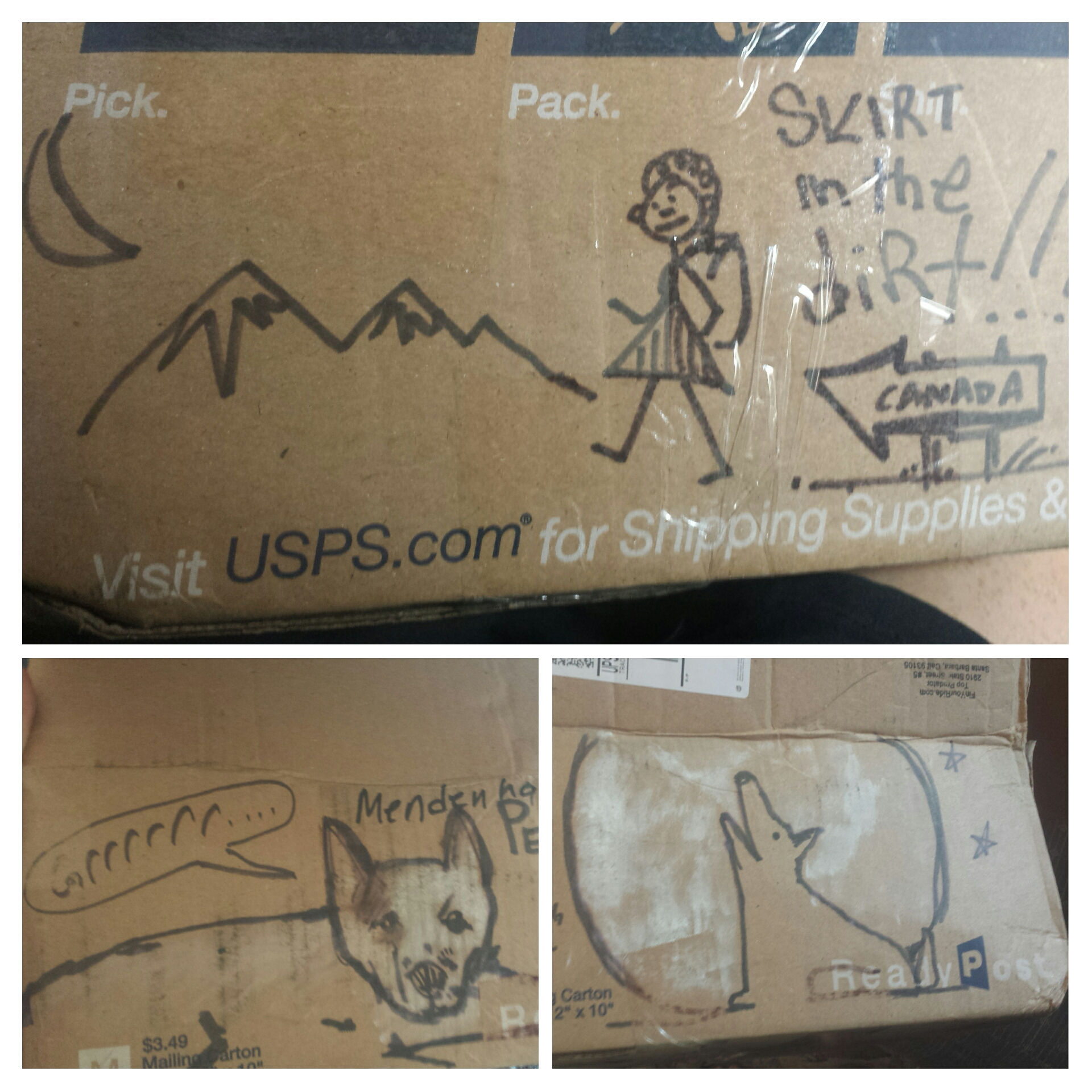 Awesome doodles from Artie on my Dinsmore's resupply box