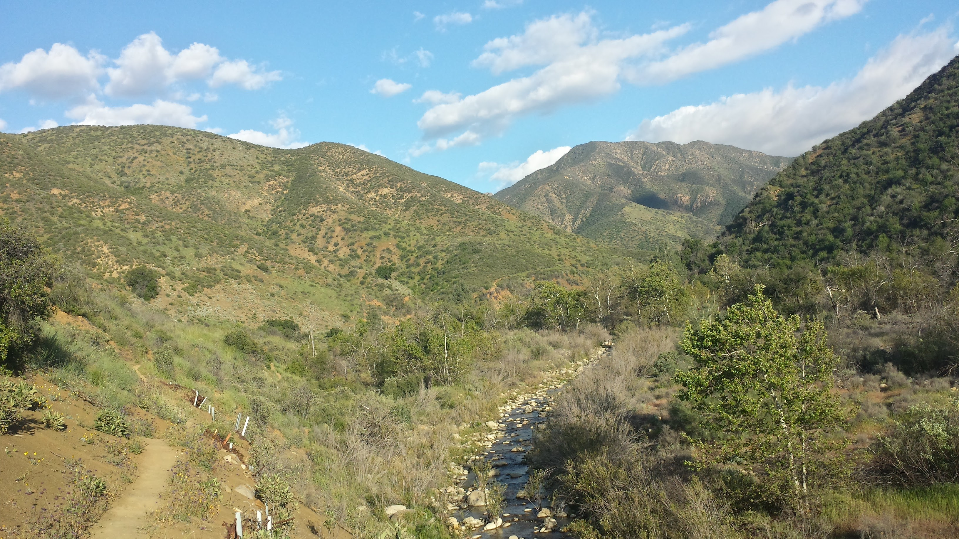 Looking south along Manzana Creek.